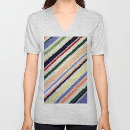 Colorful Terrycloth Stripe Unisex V-Neck