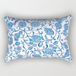 Blue Flowers on White by Fanitsa Petrou Rectangular Pillow