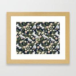 White Doves and Roses Framed Art Print