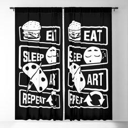 Eat Sleep Art Repeat - Art Artists Painters Brush Blackout Curtain