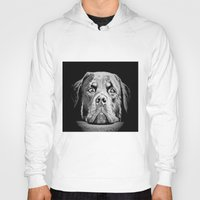 rottweiler Hoodies featuring Rottweiler Drawing By Annie Zeno by Annie Zeno