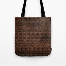 Aztec Tribal Andes Carved brown wood grain pattern Tote Bag