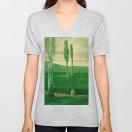 Springtime in Campagna, Salerno, Italy (Little girl chasing butterflies) by Lajos Gulácsy Unisex V-Neck