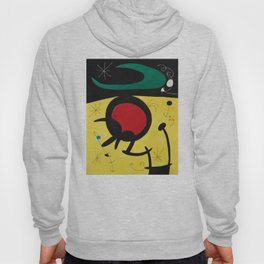 Joan Miro Vol Doiseaux, 1968, Flight of Birds Encircling the 3 Haired Woman on a Moon, Artwork, Prin Hoody