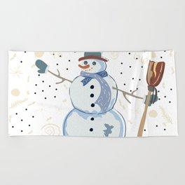 Snowman Beach Towel