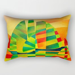 Chinese Junks, Sunset, Sails and Shadows Rectangular Pillow