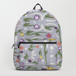 Pale Purple Hand Painted Bohemian Flower Design Backpack