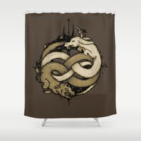 fight Shower Curtains featuring NEVERENDING FIGHT by Letter_q