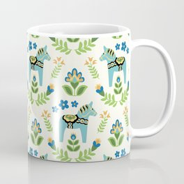 Swedish Dala Horses Teal Coffee Mug