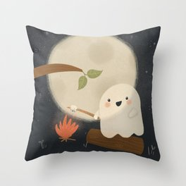 Camping Ghost Toasting Marshmallows in Moonlight Throw Pillow