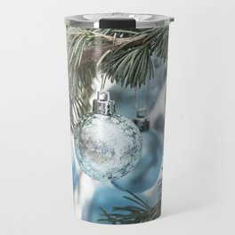 Blue Christmas baubles on tree Travel Mug