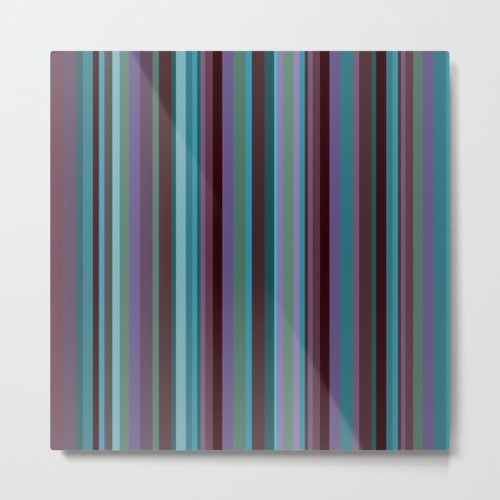 Retro Stripe in Blueberries and Orchids Metal Print