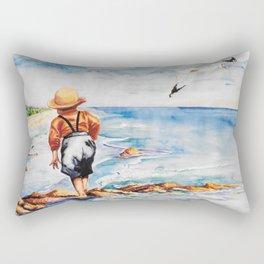 Watercolor Boy with Seagulls Rectangular Pillow