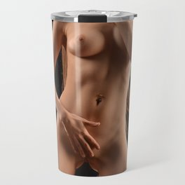 1143-JAL Beautiful Young Woman in Spike Collar Kneeling Nude on Platform Travel Mug