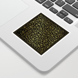 golden notes music symbol in black Sticker