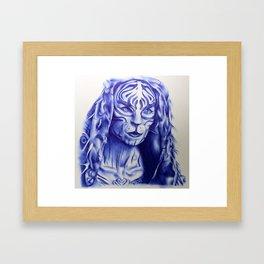 MJ Part 2 - Tigris Ballpoint Pen Sketch Framed Art Print