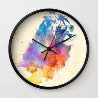 lions Wall Clocks featuring Sunny Leo   by Robert Farkas