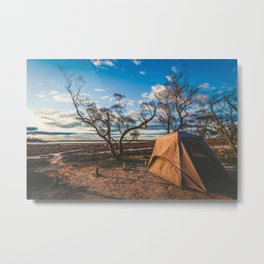 Camping tent in Australian outback at sunset Metal Print