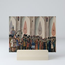 The king of Persia sitting on a horse with his entourage of officers, bodyguards, footmen and execut Mini Art Print