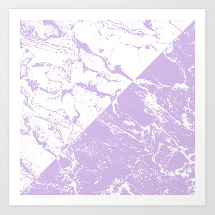 Modern Color Block Inverted White Purple Lavender Marble Pattern Art Print