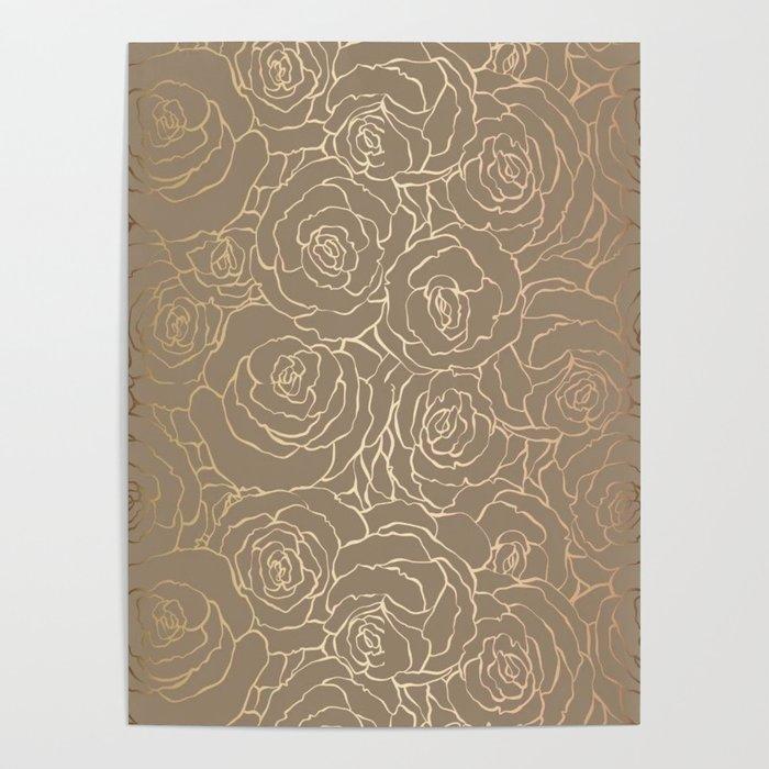 Custom Gold Floral Pattern Poster