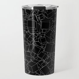 Cubic B&W inverted / Lineart texture of 3D cubes Travel Mug