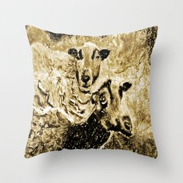 Two Ewes at Sunset Vintage Look Throw Pillow