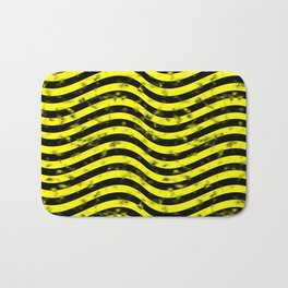 Wiggly Yellow and Black Speckle Pattern Bath Mat