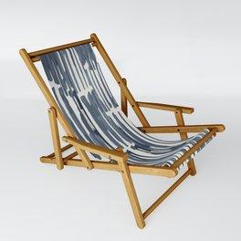 Simply Bamboo Brushstroke Indigo Blue on Lunar Gray Sling Chair