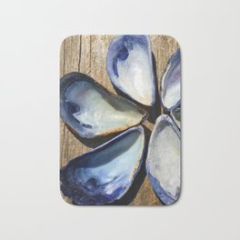 Blue Sea Shells   Blue and White Shell Flower   Beach   Nadia Bonello Bath Mat