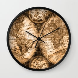 World Map Antique Vintage Maps Wall Clock