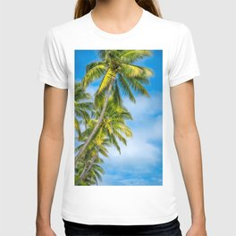 Looking up at some beautiful coconut palm trees at Kuto Bay. T-shirt