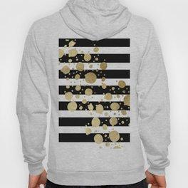 Faux Gold Paint Splatter on Black & White Stripes Hoody