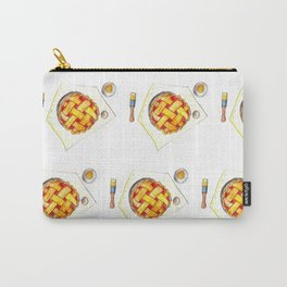 Kitchen worktop top view with utensils, open cookbook and cherry pie preparation Carry-All Pouch