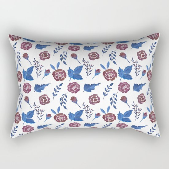Watercolor floral red roses print Rectangular Pillow