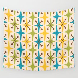 Mid Century Modern Abstract Star Pattern 441 Yellow Brown Turquoise Chartreuse Wall Tapestry