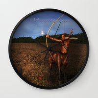 sagittarius Wall Clocks featuring Sagittarius by Viggart