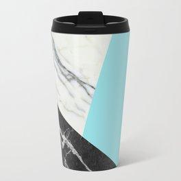 Black and white marble with pantone island paradise Travel Mug