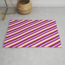 Purple, Beige, Light Coral & Maroon Colored Lined/Striped Pattern Rug