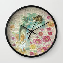 Vintage Floral Alice In Wonderland Wall Clock