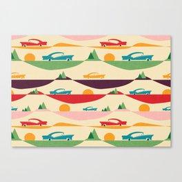 50s Retro Road Trip Beige #midcenturymodern Canvas Print