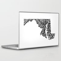 maryland Laptop & iPad Skins featuring Typographic Maryland by CAPow!