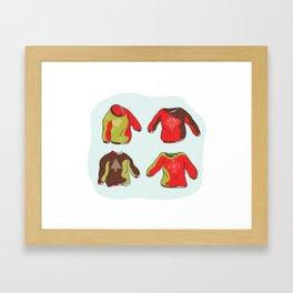 Nordic Christmas Jumper Clipart Set. Hand Drawn Embroidered Ugly Sweater Framed Art Print