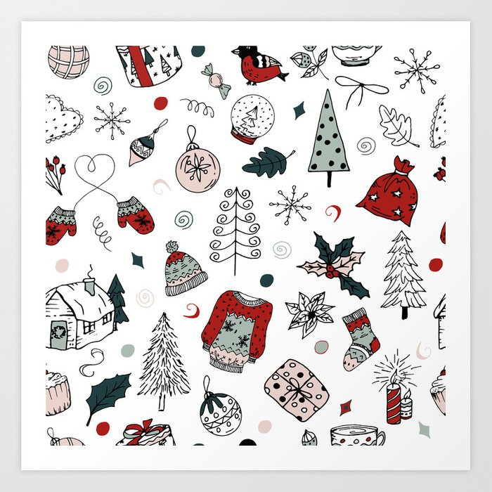christmas holiday pattern winter hand drawing background art print by alexcrafts society6 christmas holiday pattern winter hand drawing background art print by alexcrafts