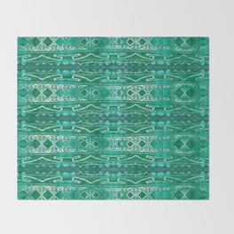 Vintage Tribal Distressed Green Throw Blanket