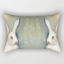 Portrait of a White Rabbit Rectangular Pillow
