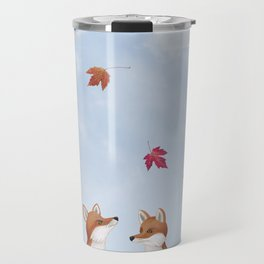 foxes, falling leaves, & pileated woodpecker Travel Mug