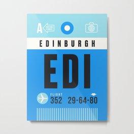 Luggage Tag A - EDI Edinburgh Scotland Metal Print