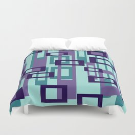 Geometric rectangles pattern violet Duvet Cover