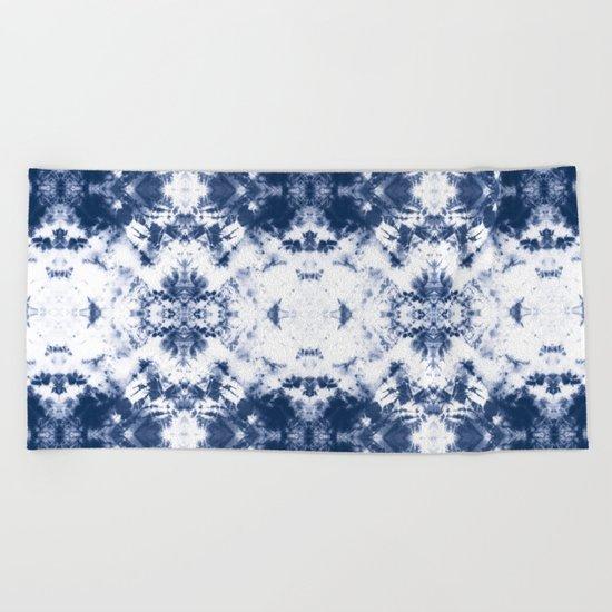 Shibori Tie Dye 3 Indigo Blue Beach Towel